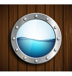 Round porthole on a wooden surface vector