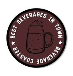 Round beverage coaster black vector