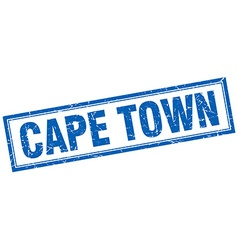 Cape town blue square grunge stamp on white vector