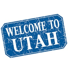 Welcome to utah blue square grunge stamp vector
