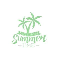 Summer holidays vintage emblem with palm trees vector