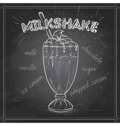 Milkshake scetch on a black board vector