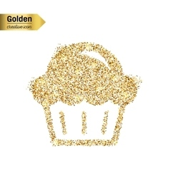 Gold glitter icon of muffin isolated on vector