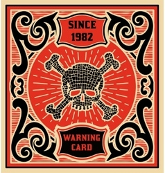Warning card baroque style layered vector