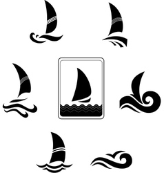 Black icons with the image of yachts on a white vector image vector image
