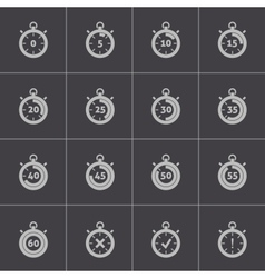 black stopwatch icons set vector image vector image
