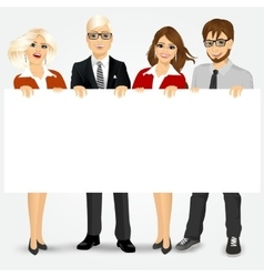 businesspeople holding a blank billboard vector image vector image