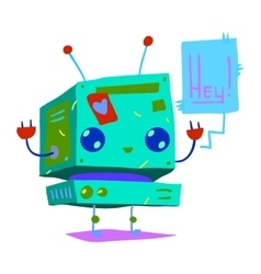 Cartoon tiny baby robot flat icon vector image vector image