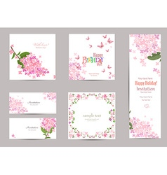 collection of greeting cards with a blossom lilac vector image vector image