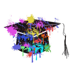colorful mortarboard cap vector image vector image