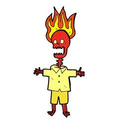 comic cartoon flaming skeleton vector image vector image