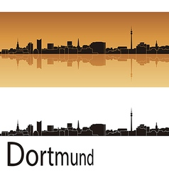 Dortmund skyline in orange background vector image vector image
