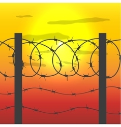 Fence with barbed wire vector