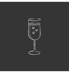 Glass of champagne drawn in chalk icon vector