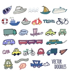 Hand-drawn doodle-style cars ships and bicycle vector image vector image