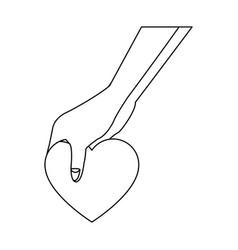hand holding love heart romantic symbol vector image vector image