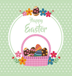Happy easter basket egg floral dots background vector