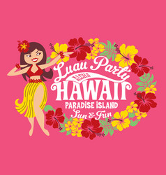 luau party hawaii paradise island vector image