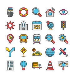 maps and navigation colored icons set 3 vector image