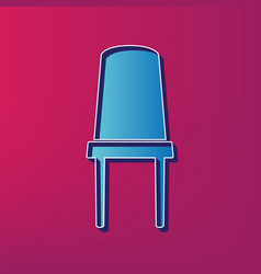 Office chair sign blue 3d printed icon on vector