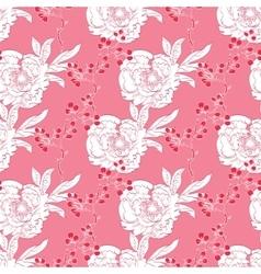 Pink red diagonal oriental peonies seamless vector