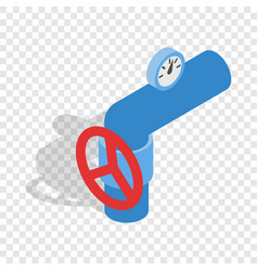 pipe with a red valve and meter isometric icon vector image