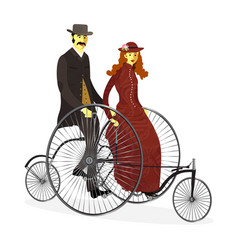 Retro couple of cyclists on bicycle vector