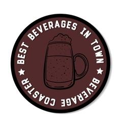 Round beverage coaster black vector