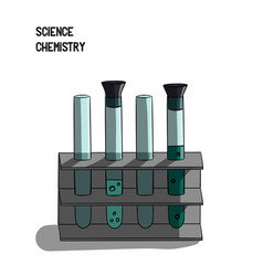 science chemistry a set of small flasks with a vector image