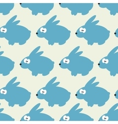 Seamless pattern with blue rabbit on grey vector image vector image