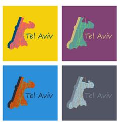 Set of tel aviv flat map artprint landmass water vector