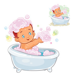 Small child take a bath with foam vector