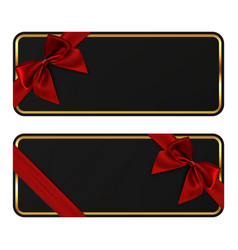 two black banners gift card templates with red vector image