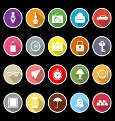 Vintage collection flat icons with long shadow vector image