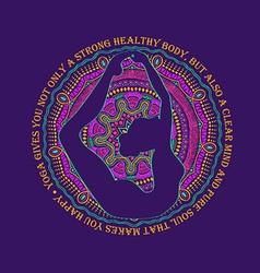 Woman Doing Bow Pose Of Yoga And Mandala Design vector image vector image