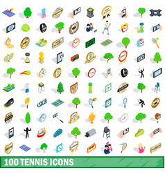 100 tennis icons set isometric 3d style vector image