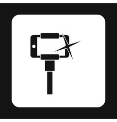 Selfie monopod stick icon simple style vector image