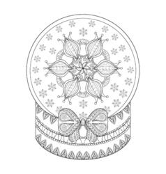 Zentangle chriatmas snow globe with snow flake vector