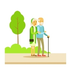 Old couple walking holding hands part of people vector