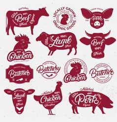 13 butchery logo label emblem poster vector image