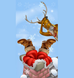 Santa in chimney and reindeer vector