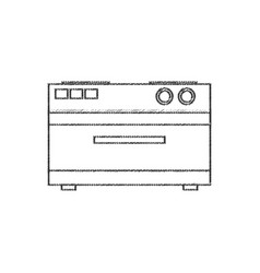 Electric oven appliance line vector
