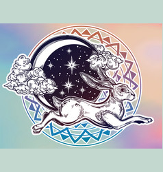 hare or jackrabbit jumping over the moon vector image