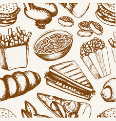 Fast food - one color hand drawn seamless pattern vector