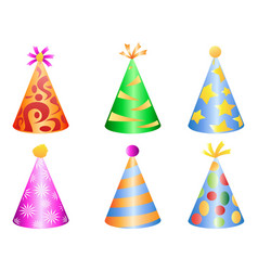 Colorful party hat icons vector