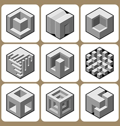 Cube icon set 5 vector