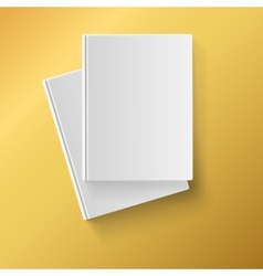 Blank white books on yellow background vector