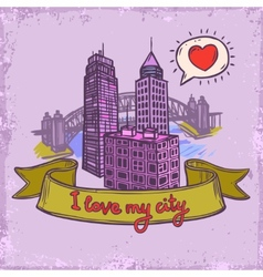 Sketch city background vector
