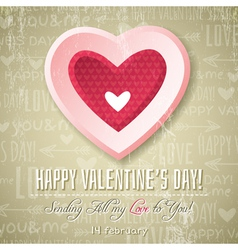 Beige background with pink valentine heart vector