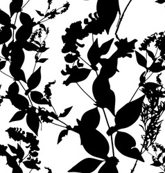 Black flowers on white background seamless pattern vector